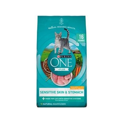 Purina ONE Sensitive Systems Adult Premium Dry Cat Food, 16-lb bag