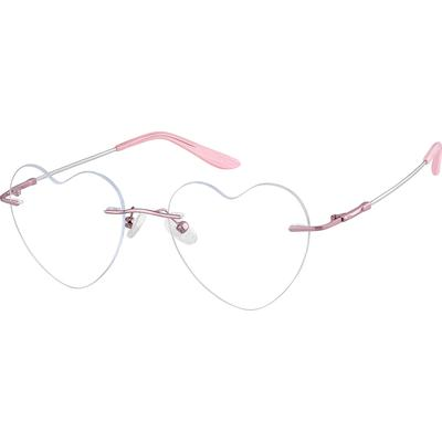 Zenni Womens Lightweight Rimless Prescription Glasses Pink Bendable Frame Memory Titanium 210519
