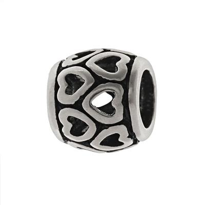 Individuality Beads Sterling Silver Heart Spacer Bead, Grey