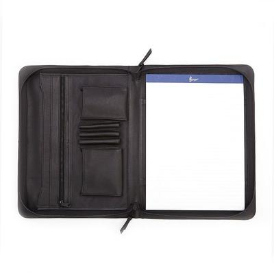 Royce Leather Executive Zip-Around Padfolio, Black