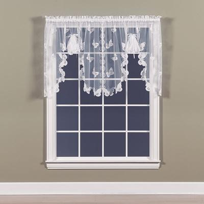 Butterfly Lace Swag Window Valance - 56'' x 38'', White
