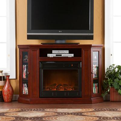 Abbey Cherry Finish Convertible Media Console Electric Fireplace, Multicolor