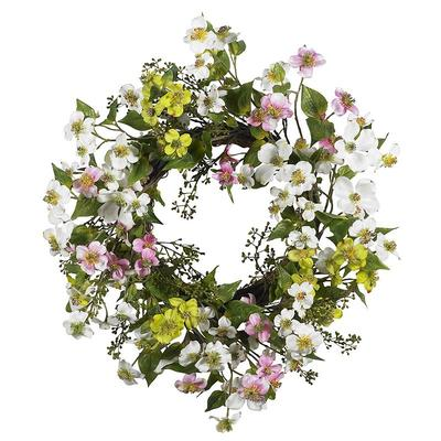 nearly natural Dogwood Floral Wreath, White