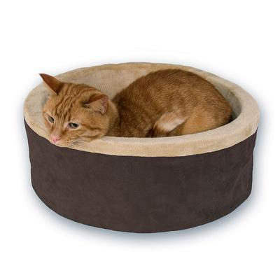 K and H Pet Thermo-Bed Round Pet Bed - 16'', Brown