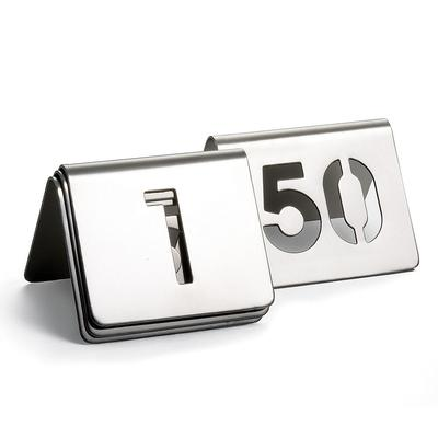 Tablecraft TC150 Tabletop Number Cards - #1 50, 2.5 x 2.5, Stainless