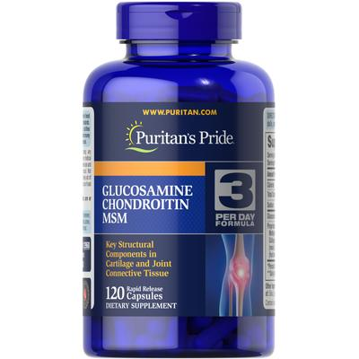 Puritan's Pride Double Strength Glucosamine, Chondroitin & MSM Joint Soother-120 Capsules