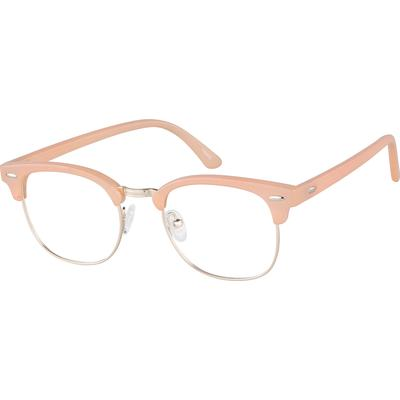 Zenni Retro Browline Prescription Glasses Cream Tortoiseshell Frame Mixed Materials 195433
