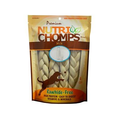 Premium Nutri Chomps Milk Flavor Braid Dog Treats, 4 count, 9-in