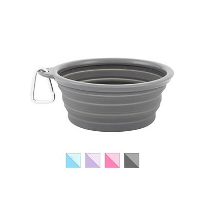 Prima Pets Collapsible Travel Bowl with Carabiner, Large, Grey