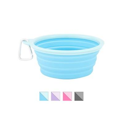 Prima Pets Collapsible Travel Bowl with Carabiner, Large, Aqua