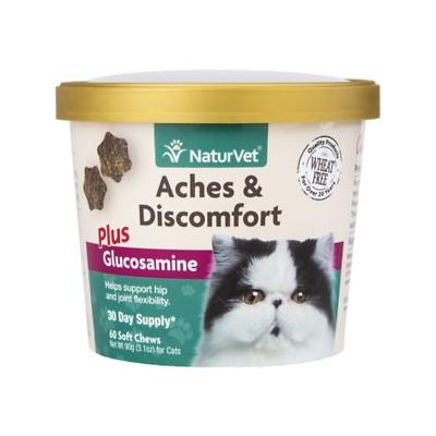 NaturVet Aches & Discomfort Plus Glucosamine Cat Soft Chews, 60 count