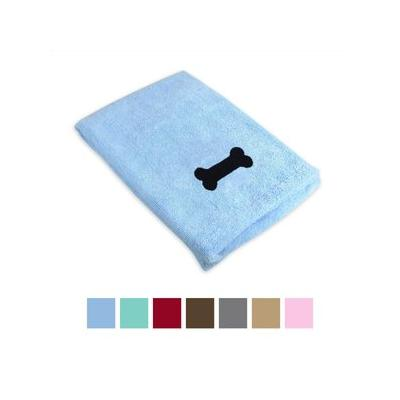 Bone Dry Embroidered Bone Microfiber Dog Bath Towel, Blue