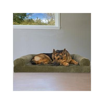 FurHaven Faux Fur & Velvet Orthopedic Sofa Dog & Cat Bed, Dark Sage, Jumbo