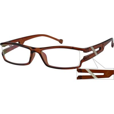 Zenni Mens Rectangle Prescription Glasses Brown Frame Plastic 250815
