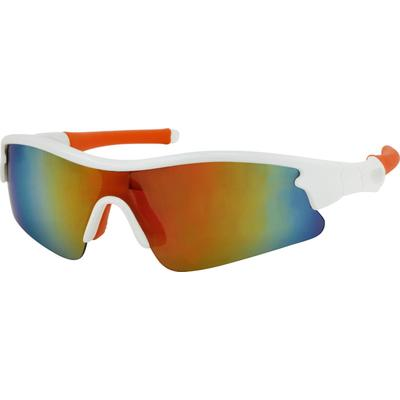 SB: Zenni Mens Sunglasses White Frame Other Plastic A10184830 An attractive polycarbonate half-rim non-prescription sunglasses. It has grey tinted lenses with mirror coating. Lenses have full UV protection and anti-scratch coating. They are non-prescription sunglasses.