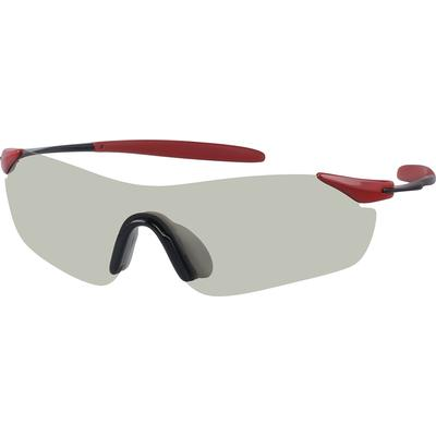 SB: Zenni Mens Sunglasses Red Frame Mixed Materials A10150918 These rimless non-prescription sunglasses have a light greyish-green tint with polycarbonate lens complete with UV 400 protection. They are non-prescription sunglasses.