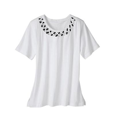 SB: Women's Criss-Cross Knit Top, White, Size S Sweaters & Cardigans by Haband. Comes in White, Size S.  The pullover neckline is kissed with cutout X's adding breezy charm to this lightweight knit. Short sleeves, straight hem, allover softness. Machine care polyester. 26  L. Imported.  .